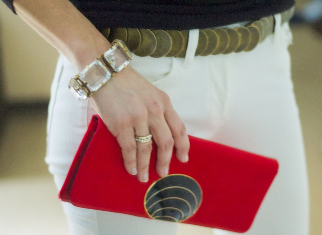 outfit recipe-white jeans, red clutch